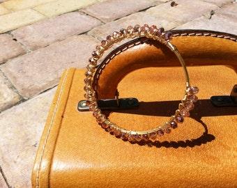 Rose glass wire bangle bracelet