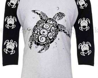 Turtle Shirt Beach Shirt Graphic Style Black and White 3/4 Sleeve Shirt  - Gypsy Clothing - Turtle Clothing - Beach Clothing - Graphic T