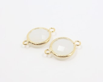 G001116C/White smoke/Gold plated over brass/Faceted round glass connector/17mm x 12mm/2pcs