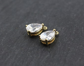 P0164/Anti-Tarnished Gold Plating Over Brass/Bazel Cubic Zircon Pendant M/6x11mm/4pcs