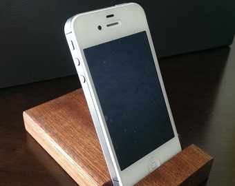 Mobile phone stand, dock handmade using Sapele hardwood and finished with natural wax