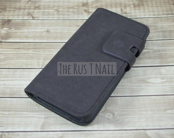 FREE Screen Protector - GRAY iPhone 5s Wallet Case - Genuine Leather