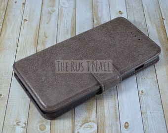 FREE SHIPPING - Chocolate Brown iPhone 6s-Plus Wallet Case - Leather