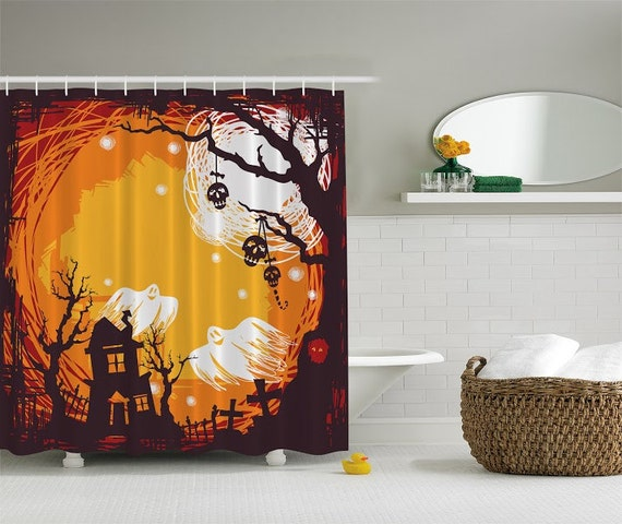 Shower Curtain Halloween Spooky Night By CharmingDivaBoutique