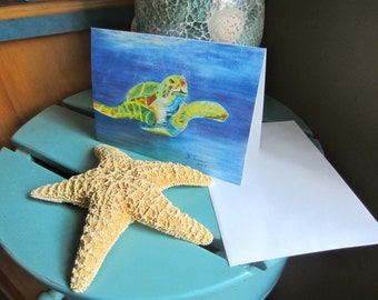 Turtle Note Card, Nautical Greeting Card, OceanArt Notecard, Turtle Greeting Card, Any Occasion Card