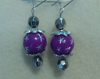 purple and silver earings