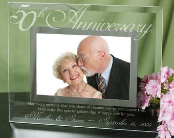 50th Anniversary Gift - Personalized Anniversary Gift - Present - Personalized Gift for Couple 50th Anniversary - Holds 4x6 Photo