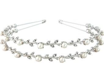 Classic Crystal & Pearl Headband, bridal headband, prom headband, glamour accessories, bridal hair accessories, wedding hairbands