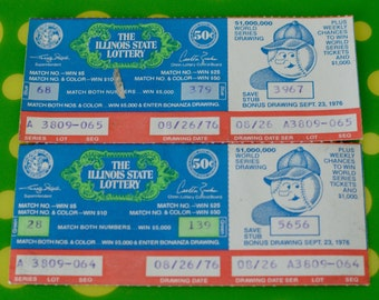 Vintage 1970s Illinois State Lottery Tickets - Two Original Tickets - 8 - 26 - 1976 / 50 cents