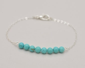 Turquoise and Silver Bracelet, Turquoise Bracelet, Minimalist Bracelet, Sterling Silver and Turquoise Bar Bracelet - Gift for Her 0311