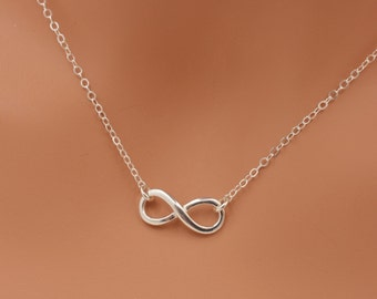 Sterling Silver Infinity Necklace, Mini Infinity Charm Necklace, Real Silver Infinity Necklace, Best Friend Necklace, Gift for Her 0315