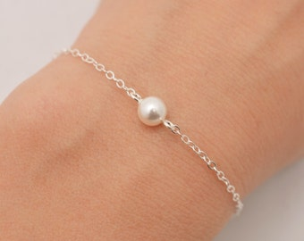 Single Pearl Bracelet, Tiny Pearl Bracelet, Sterling Silver Bracelet, Floating Pearl Minimalist Bracelet, Bridesmaid, Gift for Her 0319