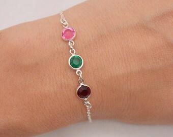 Mother's Birthstone Bracelet, Grandmother Birthstone Bracelet, Mom Bracelet, Choose Your Birthstones, Childrens Birthstones Bracelet 0324