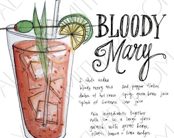 Bloody Mary Drink Print