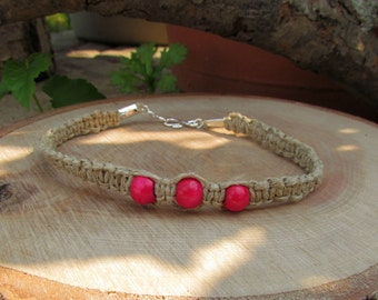 Natural Hemp Bracelet with Pink Wooden Beads