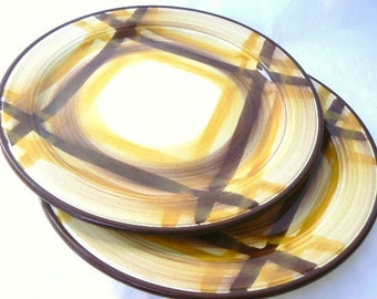 """PAIR 1950's Hand-painted Salad Plates by Vernonware (Vernon Kilns California) yellows-browns Organdie pattern Gale Turnbull design - 7 1/2"""""""