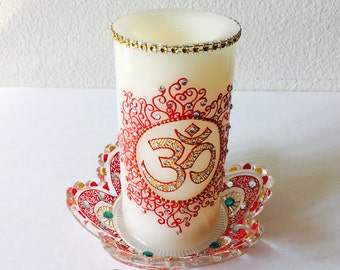 Om symbol,Flameless LED candle pillar,henna decorated,perfect for any decor..