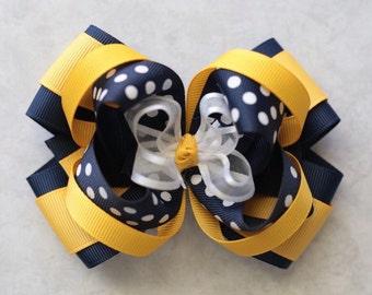 School bow-school uniform hair bow-uniform hair bow-navy yellow gold white school uniform hair bow-layered school bow-white navy yellow bow