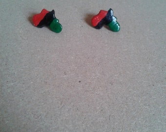RBG red black and green Africa stud earrings
