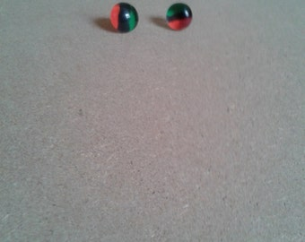 RBG red black and green glass stud earrings