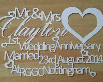 Personalised Wedding Anniversary Paper Cut Gift UNFRAMED, 1st Anniversary, Wedding Gift, First Anniversary Keepsake, Mr and Mrs, Wife Gift