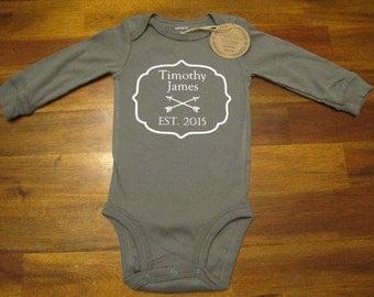 Custom Name Baby Announcement Est. 2015 Onsie Shirt - VeritasPressApparel