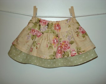 Beautiful floral doll tier skirt with contrast dots