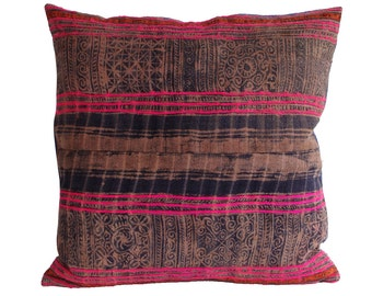 HMONG Pillowcase Hemp/Batik/Embroidered/Vintage, 45x45 cm