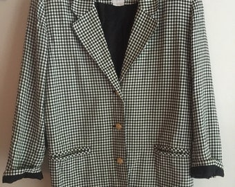 Womens Black White Retro 80' Blazer with 3 Gold Buttons Clifford Willis size 12
