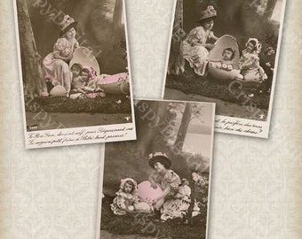 Mother and Children w/Egg Vintage Postcard Set of Three Printable Digital Download