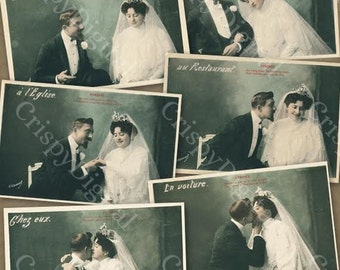 Vintage Couple Wedding Postcard Set of Six Romantic Printable Romantic Digital Download