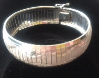 Omega Domed Sterling Silver Bracelet with Diamond Pattern Etching