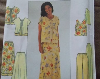 Sewing pattern Simplicity 8568 Misses' jacket, top, pants and skirt size 18 to 22 PLUS SIZE