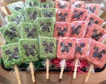 CREEPER Rice Krispie Treat Favors POPS - Pink & Green!