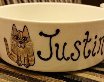 Personalised Ceramic Cat Food Bowl