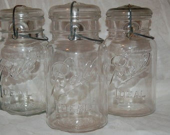 3 Vintage Ball Jar with attached Lid