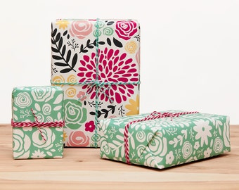 4 Large Wrapping Paper Sheets – Mint – Floral Wrapping Paper – Gift Wrap – Wrapping Paper Sheets – Wrapping Paper – 2 colors included
