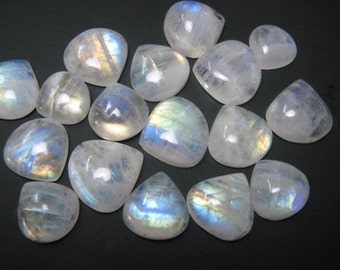 17 Pieces  lot Rainbow moonstone Heart shape cabochon loose semi precious gemstones size 12 X 12 to 16 X 16 mm approx