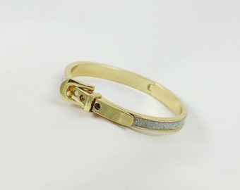Round Sparkling Gold Electroplated Buckle Belt , Holiday Gift