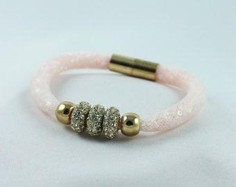 Magnetic Bracelet Pink Rhinestone Bracelet Magnetic Clasp Bracelet  Nylon Bracelet Magnetic Jewelry Gift For Her
