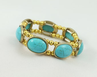 Turquoise bracelet , Stretch bracelet , Gold bracelet ,   Gold Turquoise Bracelet, Gift For Her,
