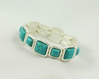 Turquoise Bracelet, Turquoise Bracelets, Stretch Turquoise Bracelet ,Stretch Bracelets, Turquoise stretch bracelets  , Gift For Her,