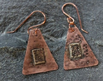 triangle copper and brass earrings