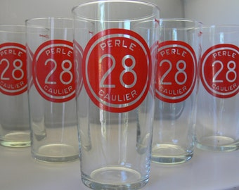 A lot of 5 lager Perle Caulier glasses . Unused and untouched from the end of the 1950's