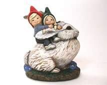 Gnome kids riding a Rabbit / Plaster / Hand-painted / Figurine / Collectible / Small Statue / Red Green / Art / Gnome Decor / Rabbit / Kids