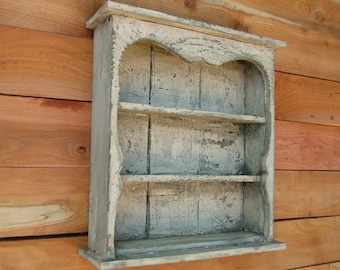 Shabby Chic Style Wall Shelf, Distressed Wall shelf, Book Shelf, Distressed, French Country, Shadow Box, Display Case, CEDAR, HANDMADE