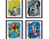 Retro Superhero Distressed, Vintage Art Print Set - Qty 6 - NURSERY, BEDROOM, PLAYROOM poster decor, Batman, Avengers, Superman, Spider-Man
