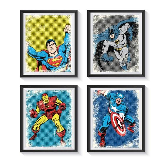 Retro Superhero Art: Retro Superhero Distressed Vintage Art Print Set Qty 2