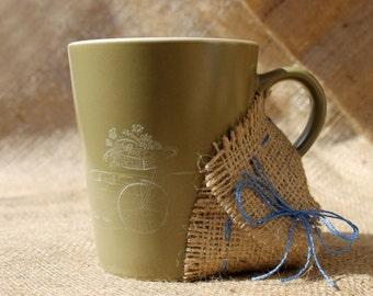 Tea mug,bicycle,mug pottery,present mug,gift cup ceramic,engraved,clay mug,green cup,bicycle of flowers,old Europe,ceramic mug,coffee cup