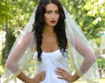 wedding veil gold, bridal veil gold, lace veil gold,  bridal veil, gold veil, mantilla veil, soft Silk Tulle veil STYLE-017- LISSABON
